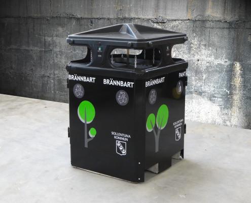 Sortify papperskorg / avfallsbehållare för källsortering i offentlig miljö utomhus